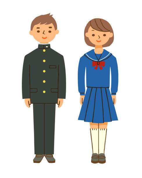 illustrazioni stock, clip art, cartoni animati e icone di tendenza di japanese boys and girls dressed in school uniform - two students together asian