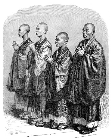 Japanese Buddhist priest or monk praying