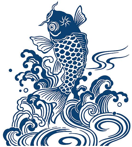 stockillustraties, clipart, cartoons en iconen met japanese carp - carp
