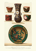 Vintage engraving of Japanese ceramics and pottery, Plate, vase, cups, 18th Century. Grand plat de koutani
