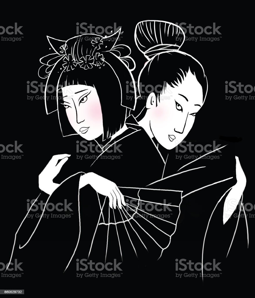 Japanese couple of lovers vector art illustration