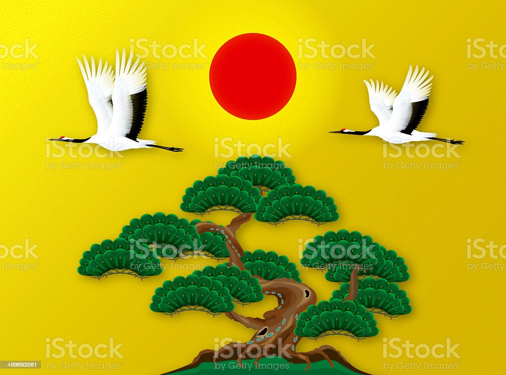 Japanese crane and a pine and the sun. vector art illustration