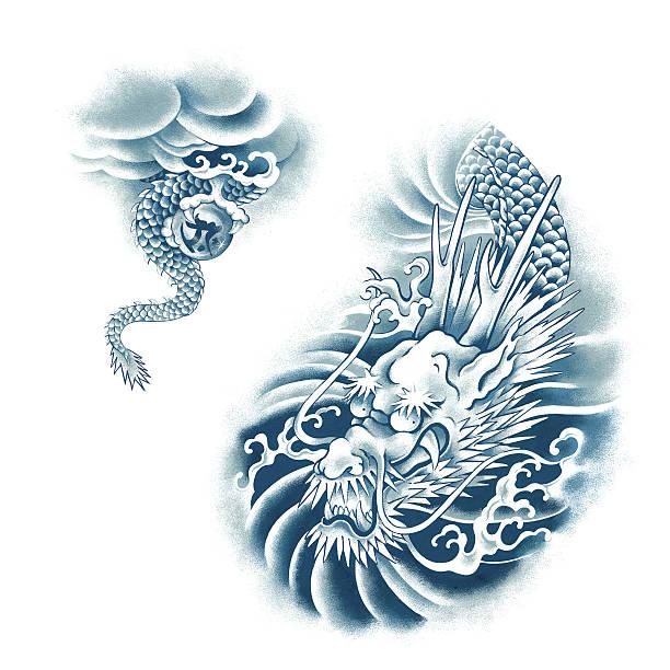 日本の龍 - 竜のタトゥー点のイラスト素材/クリップアート素材/マンガ素材/アイコン素材