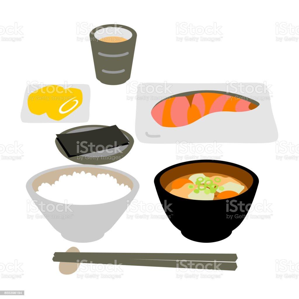 日本の魚料理の朝食 ベクターアートイラスト