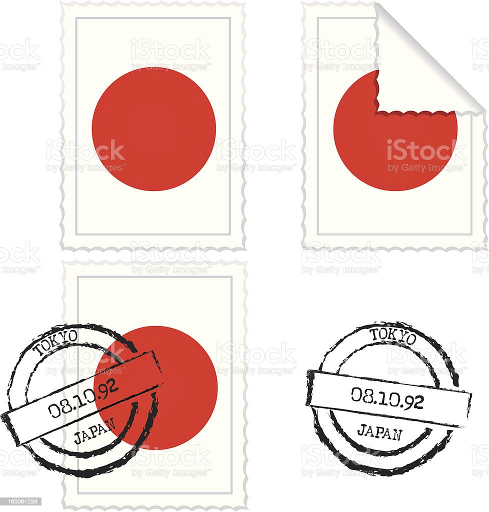 Japanese Flag Stamp Set royalty-free stock vector art