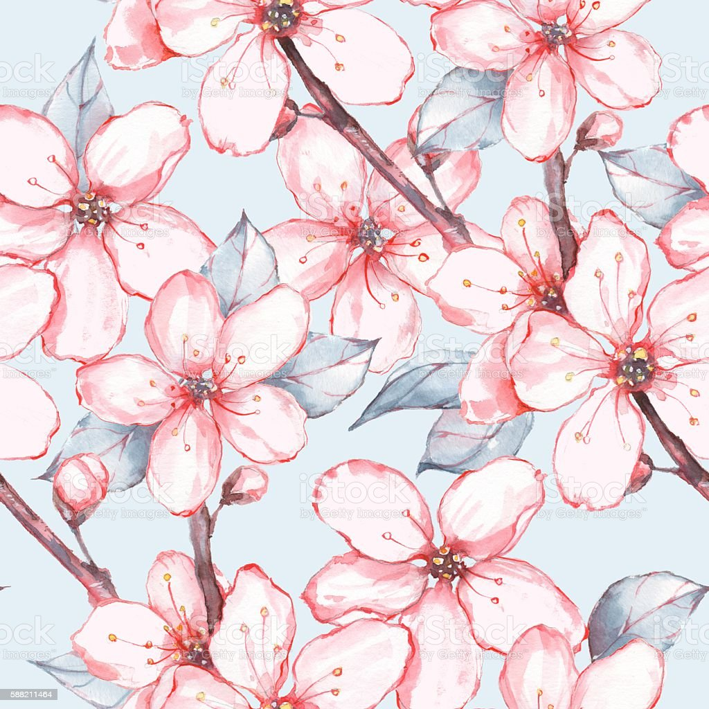 Japanese garden 13. Seamless floral pattern vector art illustration