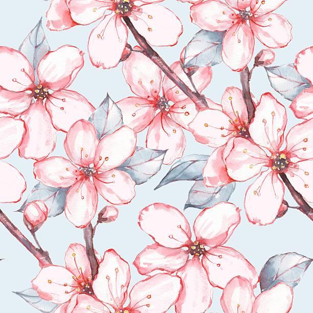 Japanese garden 13. Seamless floral pattern vector art illustration