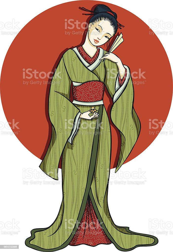 Japanese girl dressed in kimono royalty-free stock vector art