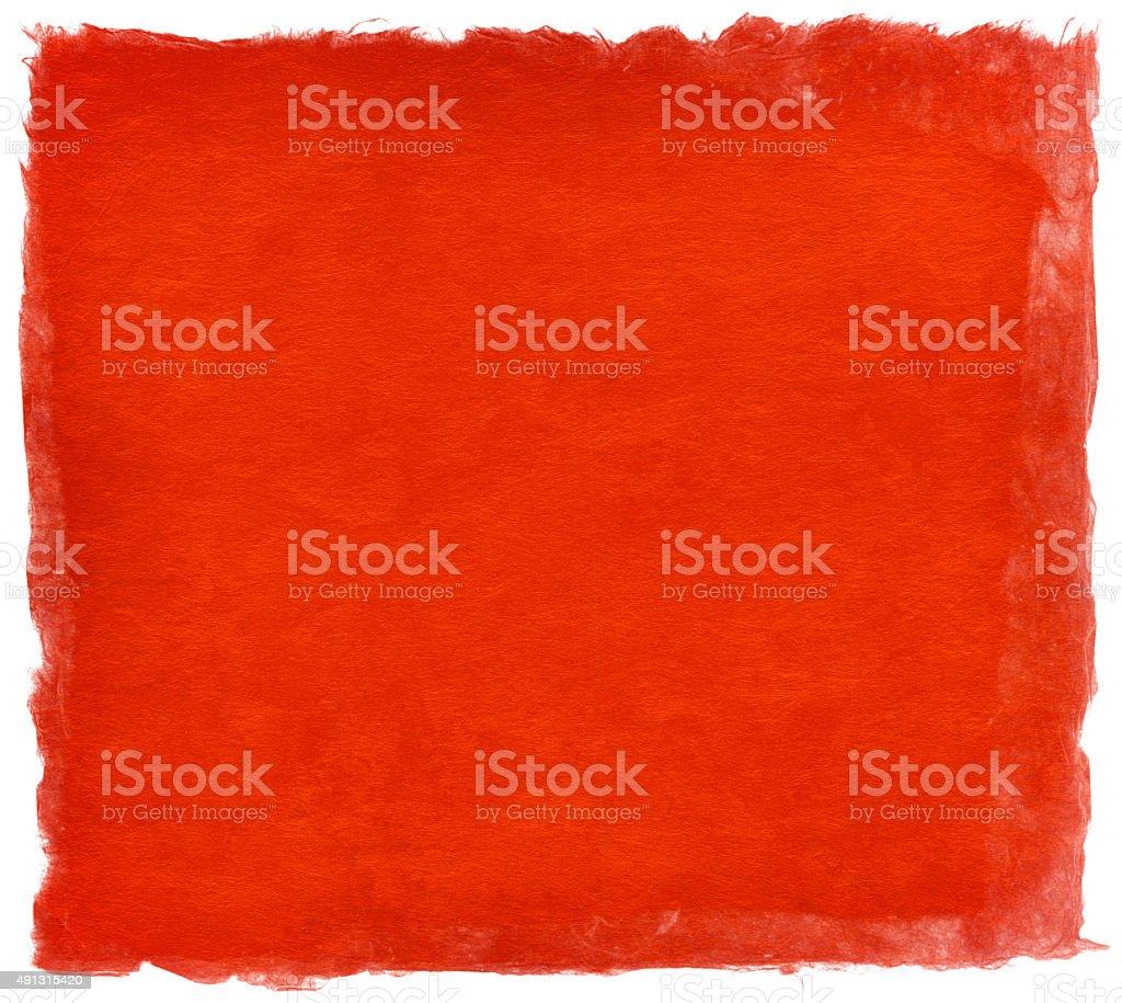 日本の手作りの紙、明るい赤の色、白で分離 ベクターアートイラスト
