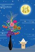 Vector illustration of Japanese harvest moon image.