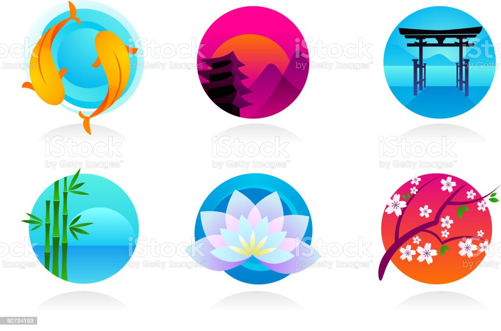 Japanese icons royalty-free stock vector art