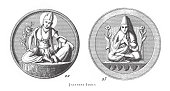 istock Japanese Idols, Religious Scenes, Symbols and Figures of China, Japan and Indonesia Engraving Antique Illustration, Published 1851 1187440877