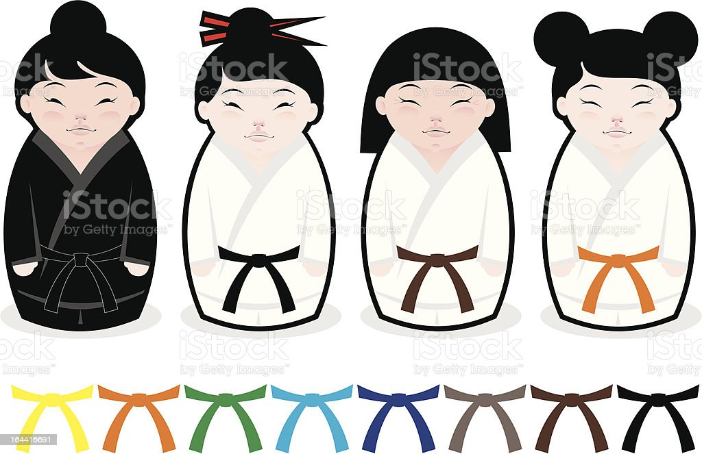 Japanese karate kokeshi dolls royalty-free stock vector art