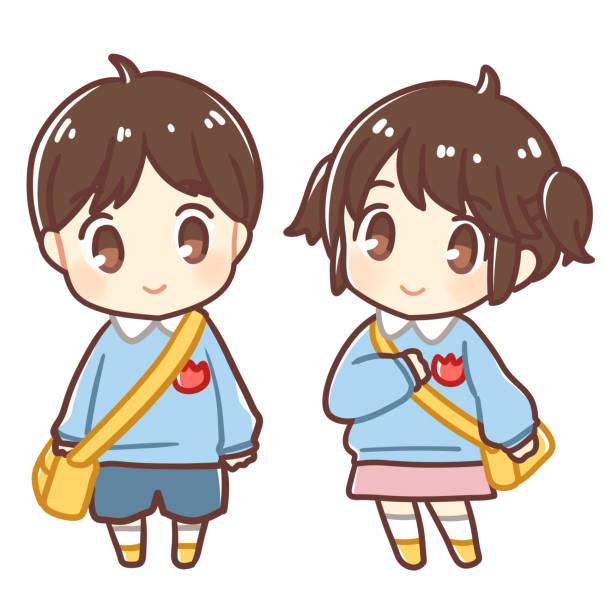 日本の幼稚園の子供たち ベクターアートイラスト