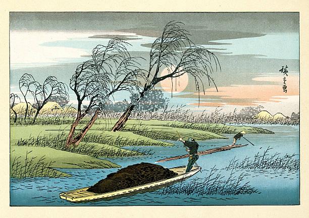 bildbanksillustrationer, clip art samt tecknat material och ikoner med japanese landscape by hiroshige - japanskt ursprung