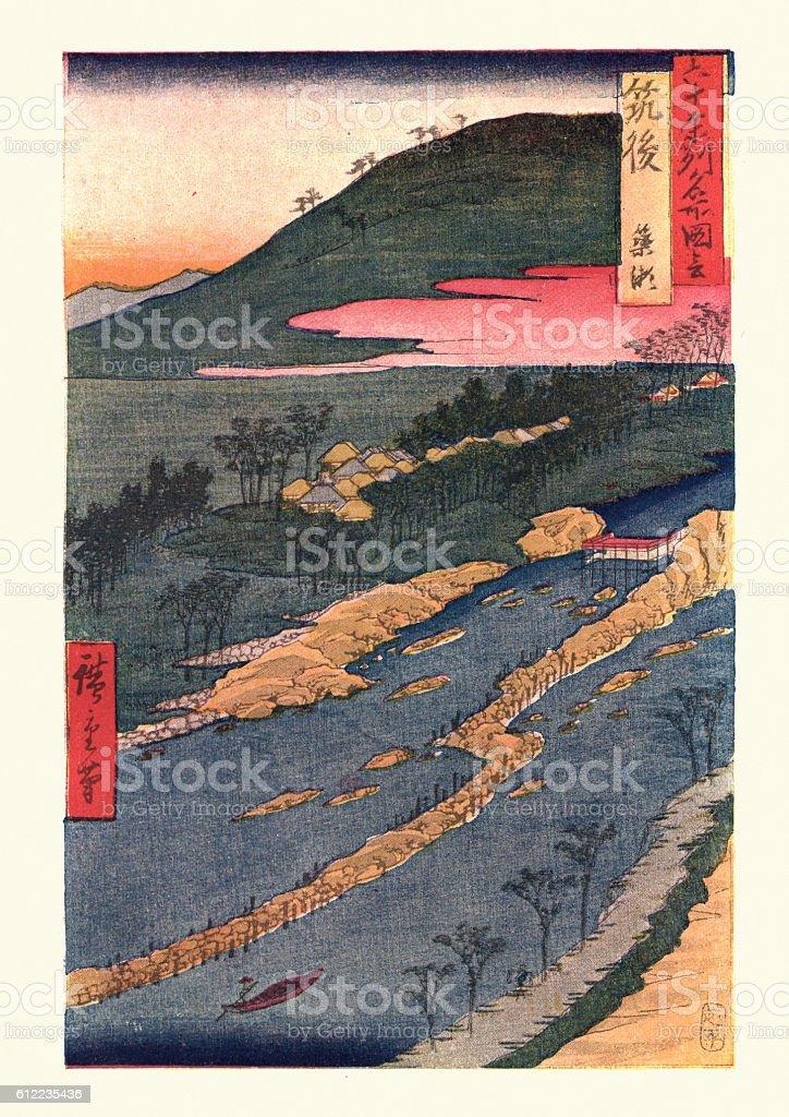 Paesaggio giapponese con Hiroshige - illustrazione arte vettoriale
