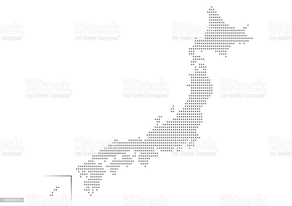 Japanese Map Of Dot Pattern Stock Vector Art IStock - Japan map free