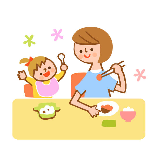 japanese mom eating with baby - single mother stock illustrations