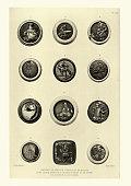 Vintage illustration of Japanese Netsuke miniature sculptures