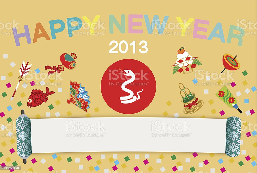 Japanese New Year's card 2013:Snake and Luck Item vector art illustration