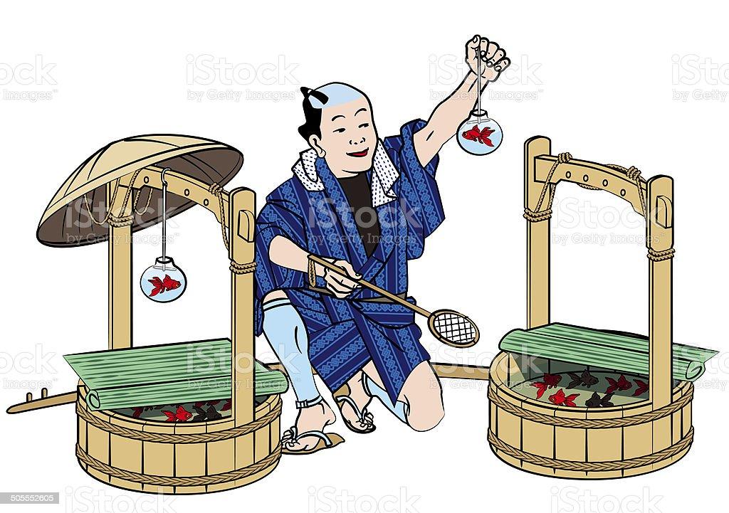 Japanese old. Townspeople. Goldfish sales vector art illustration