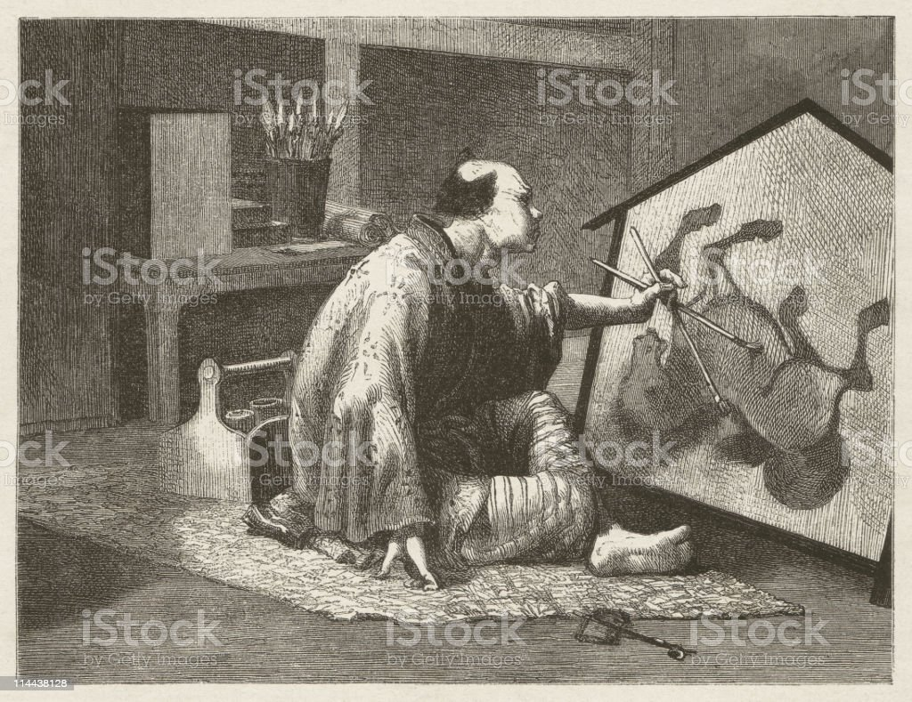 Japanese painter, wood engraving, published in 1872 royalty-free stock vector art