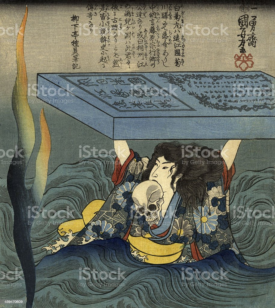 Japanese Samurai (Warrior) hold a Skull royalty-free japanese samurai hold a skull stock vector art & more images of 19th century