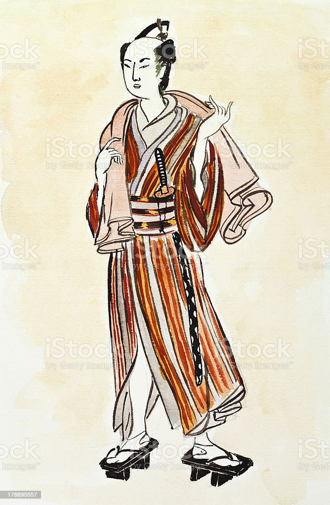 Japanese Samurai Man In Traditional Dress Royalty Free Stock