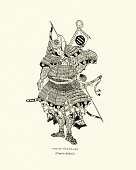 Vintage engraving of a Japanese samurai warrior fully armed and armoured for war