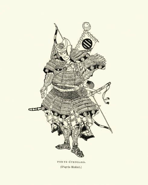 Japanese samurai warrior fully armed and armoured for war vector art illustration