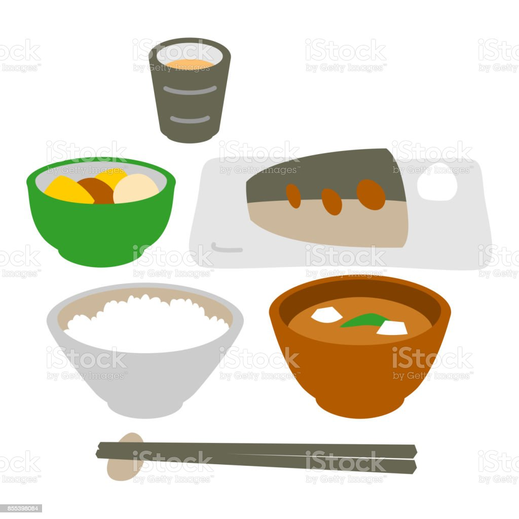 和風魚料理食事 ベクターアートイラスト
