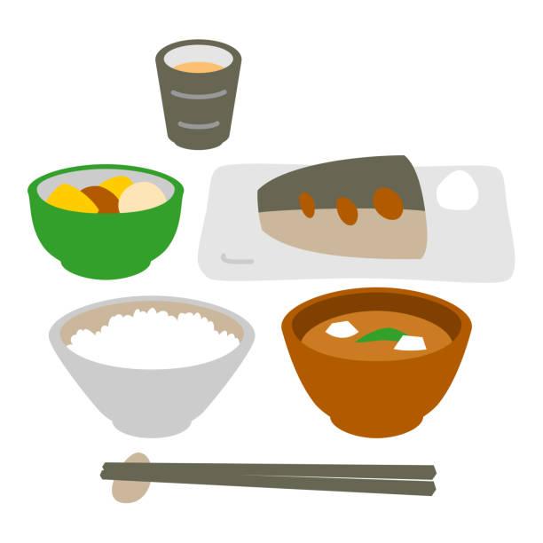 和風魚料理食事 - 和食点のイラスト素材/クリップアート素材/マンガ素材/アイコン素材