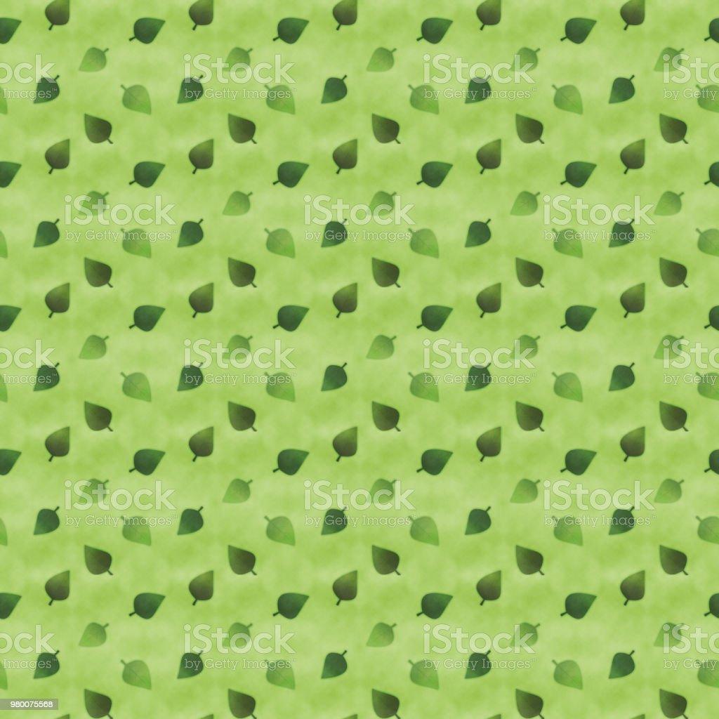 Japanese style green leaves seamless pattern vector art illustration