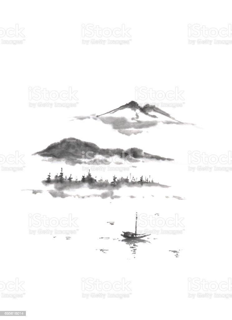 Japon Tarzı Sumie Dağ Gölü Mürekkep Boyama Stok Vektör Sanatı Ağaç