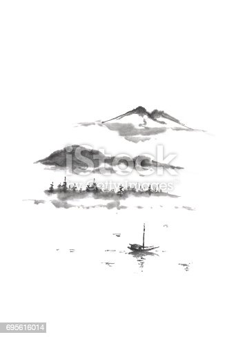 Japanese style sumi-e mountain lake ink painting. Great for greeting cards or texture design.