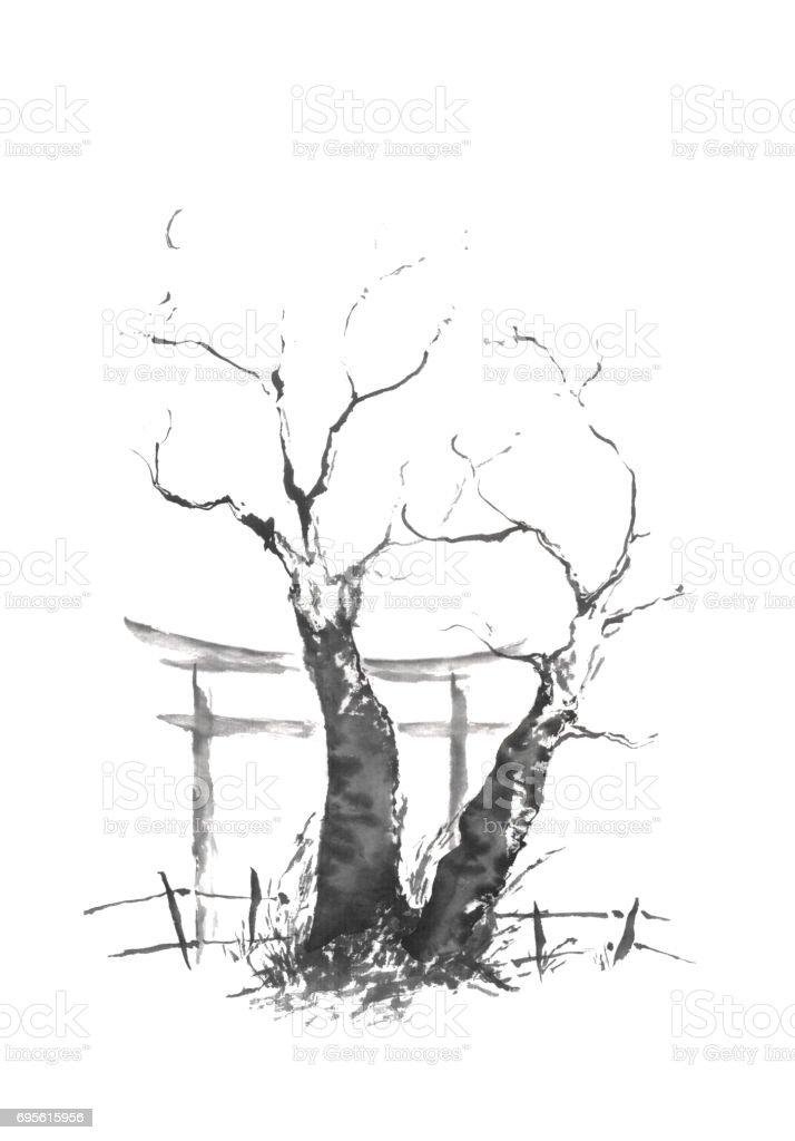Japon Tarzı Sumie Ikiz Ağaç Mürekkep Boyama Stok Vektör Sanatı