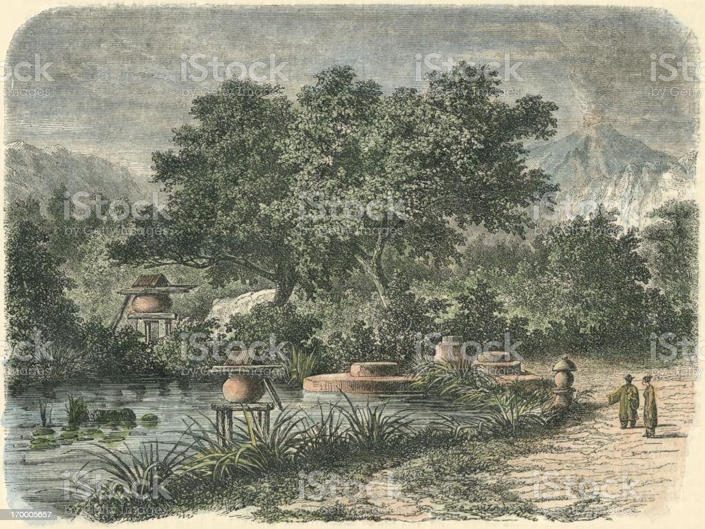 日本庭園富士山 19 世紀の 1868 ...