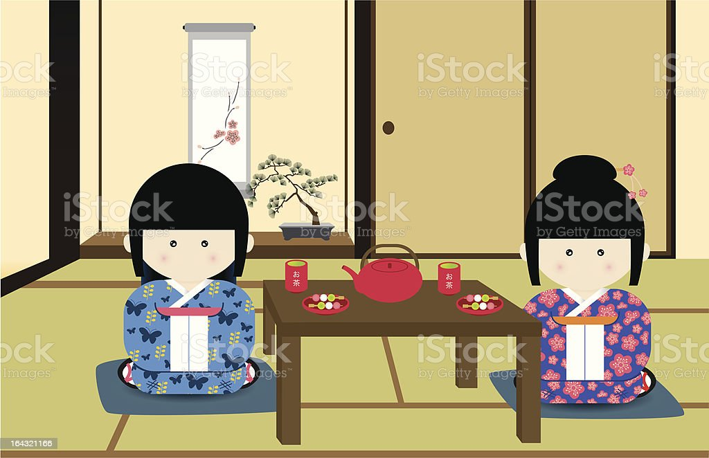 Japanese tea time vector art illustration