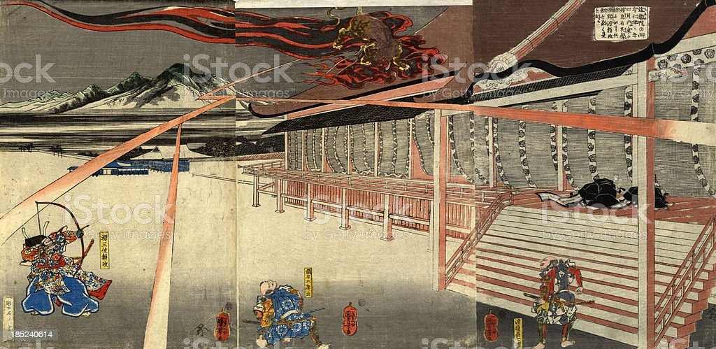 Japanese Triptych Woodblock Print of the Hunt royalty-free stock vector art