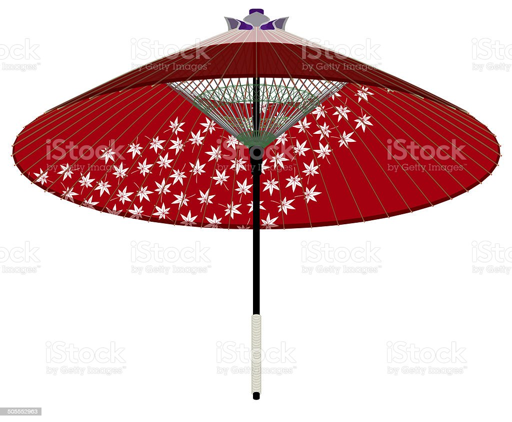 Japanese umbrellas. Maple. Japanese style vector art illustration