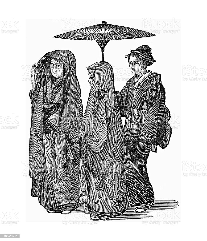Japanese Wedding Party circa 1870s royalty-free japanese wedding party circa 1870s stock vector art & more images of 19th century style