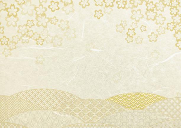 ilustrações de stock, clip art, desenhos animados e ícones de japanese white paper texture background-cherry blossoms - cherry blossoms