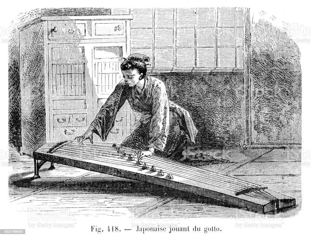 Japanese Woman Playing The Koto Engraving 1885 Stock Illustration
