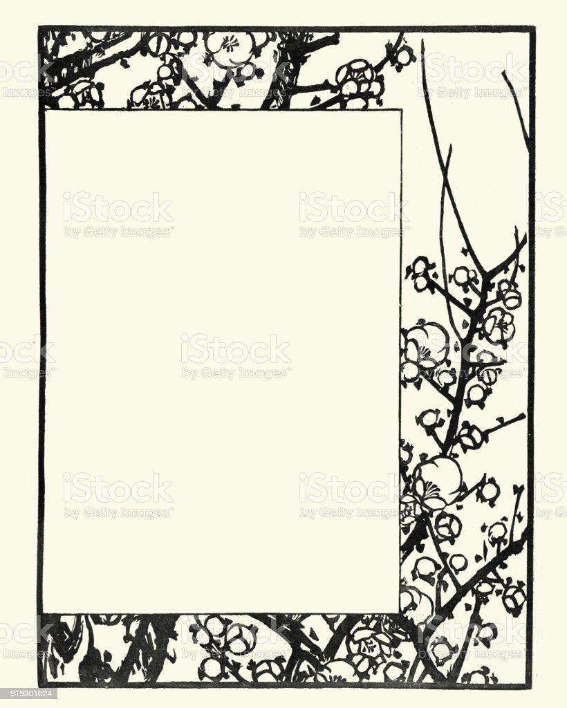 Japanischer Holzschnitt Blüte Desgin Frame Stock Vektor Art und mehr ...