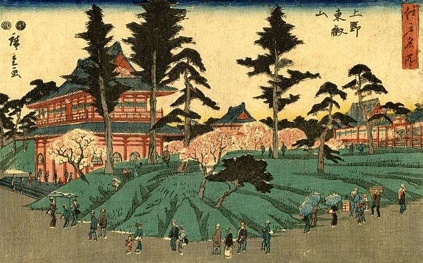 bildbanksillustrationer, clip art samt tecknat material och ikoner med japanese woodblock city scene print by hiroshige - japanskt ursprung