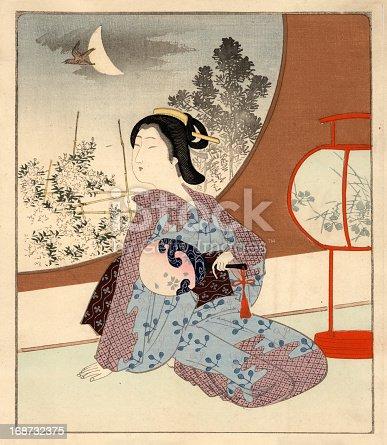 Japanese Woodblock female at night