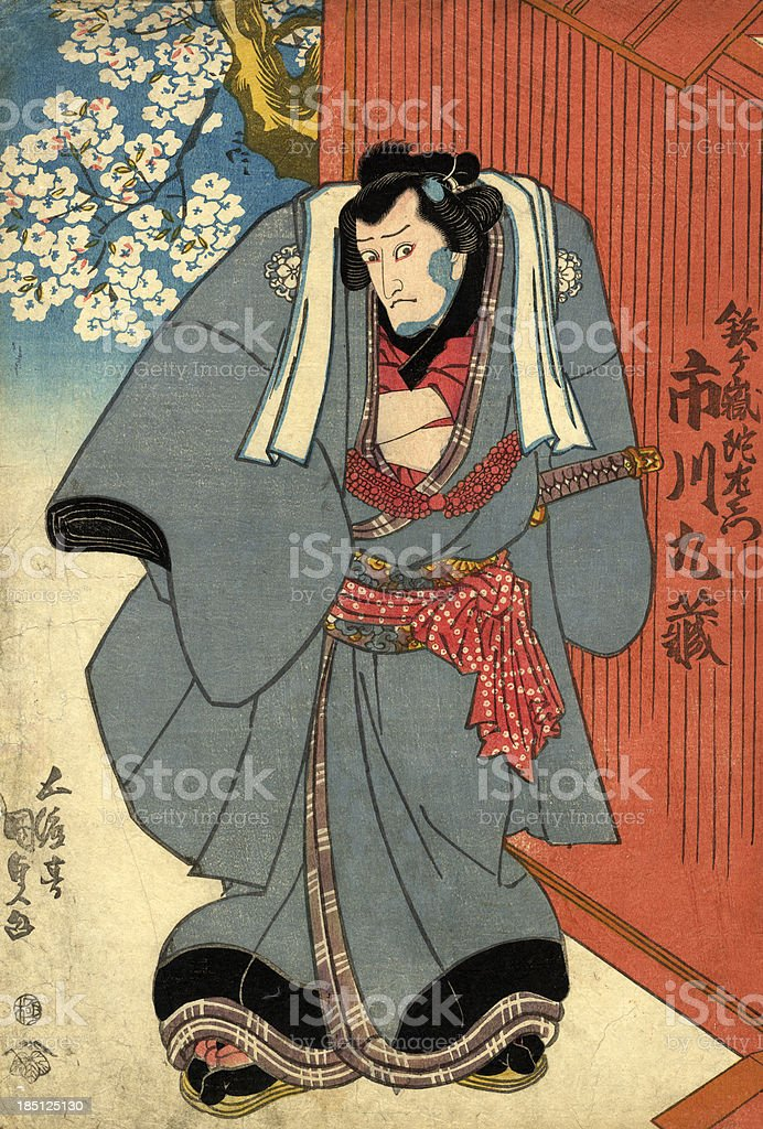 Japanese Woodblock of a Kabuki actor vector art illustration
