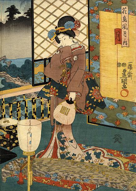 bildbanksillustrationer, clip art samt tecknat material och ikoner med japanese woodblock of beautiful moon woman - japanskt ursprung