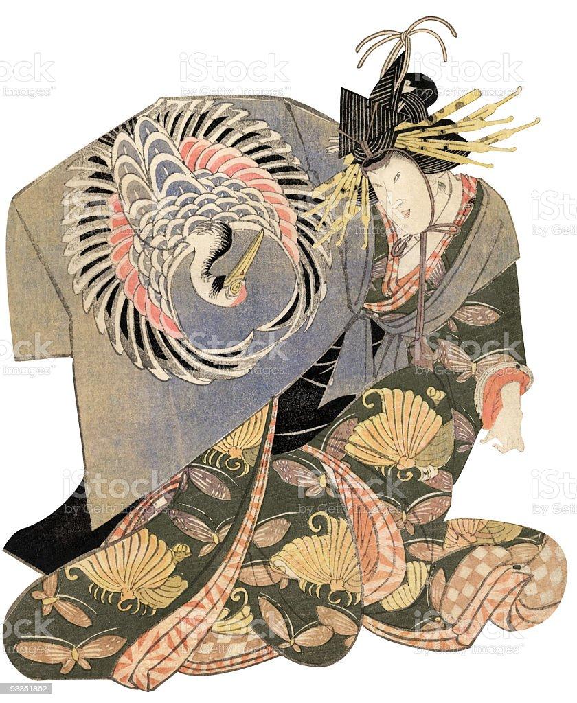 Japanese Woodblock Print Male Actor royalty-free stock vector art