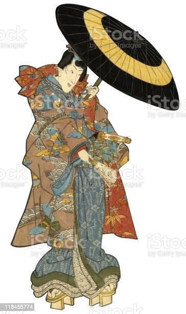 Japanische Holzschnittmännlich Mit Regenschirm Stock Vektor Art und mehr Bilder von Asiatischer Holzschnitt